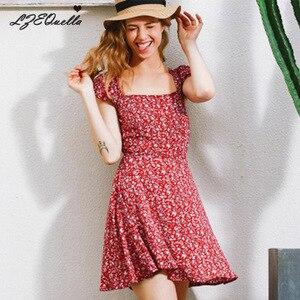LZEQuella-robe à col carré pour femmes | Imprimé Floral, Mini robe trapèze, manches courtes, dos nu, style Boho, pour filles, vêtements de vacances, NZ1553