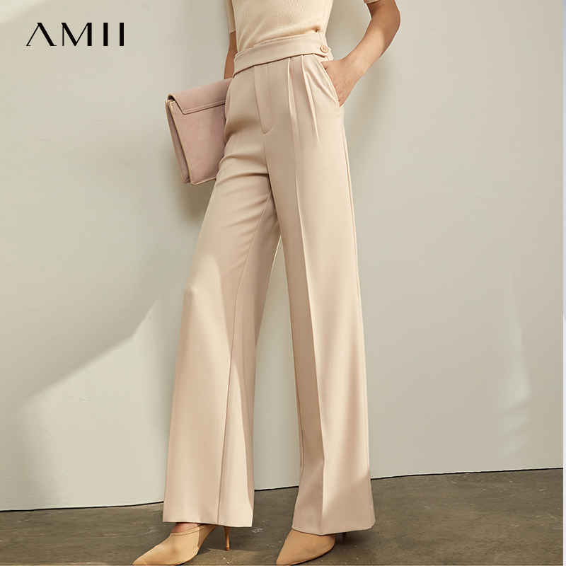 Amii Minimalist Casual Trousers Autumn Women Elegant High Waist Solid Wide Leg Pants Female Straight Trousers 11930327