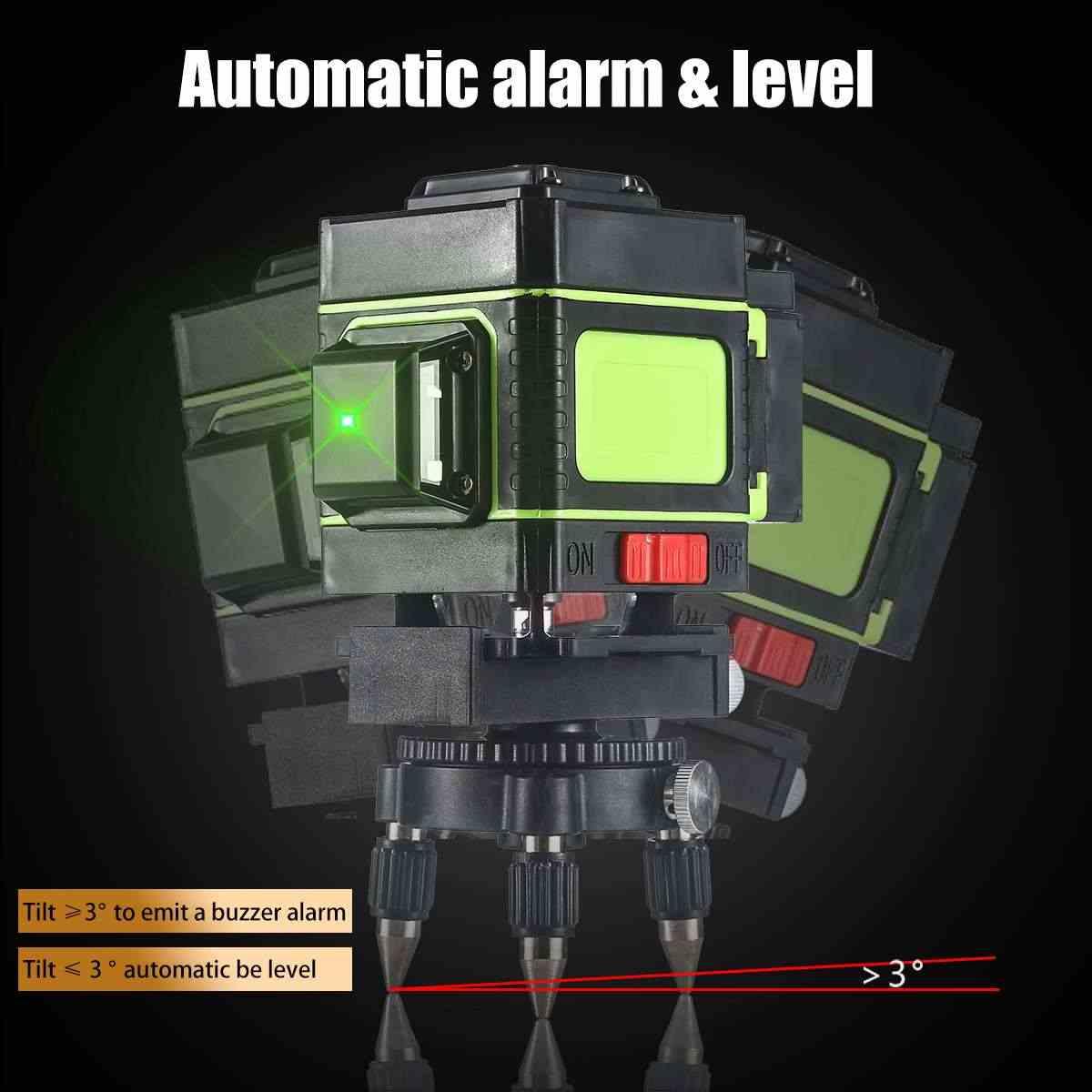 مستوى الليزر 12 خطوط مستوى ثلاثية الأبعاد التسوية الذاتية 360 درجة الروتاري الأفقي والرأسي عبر مستوى الليزر الأزرق مع جهاز التحكم عن بعد