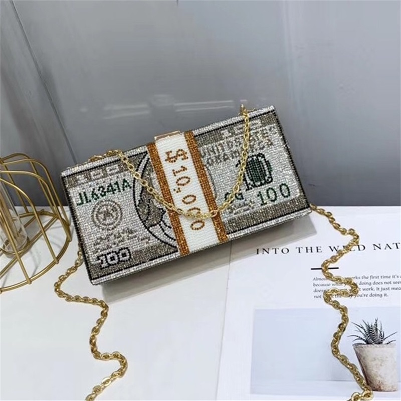 New Crystal Money USD Bags Dollar Design Luxury Diamond Evening Bags Party Purse Clutch Bags Wedding Dinner Purses And Handbags