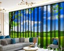 3d занавеска красивая экспансивная зеленая трава пейзаж декорированная