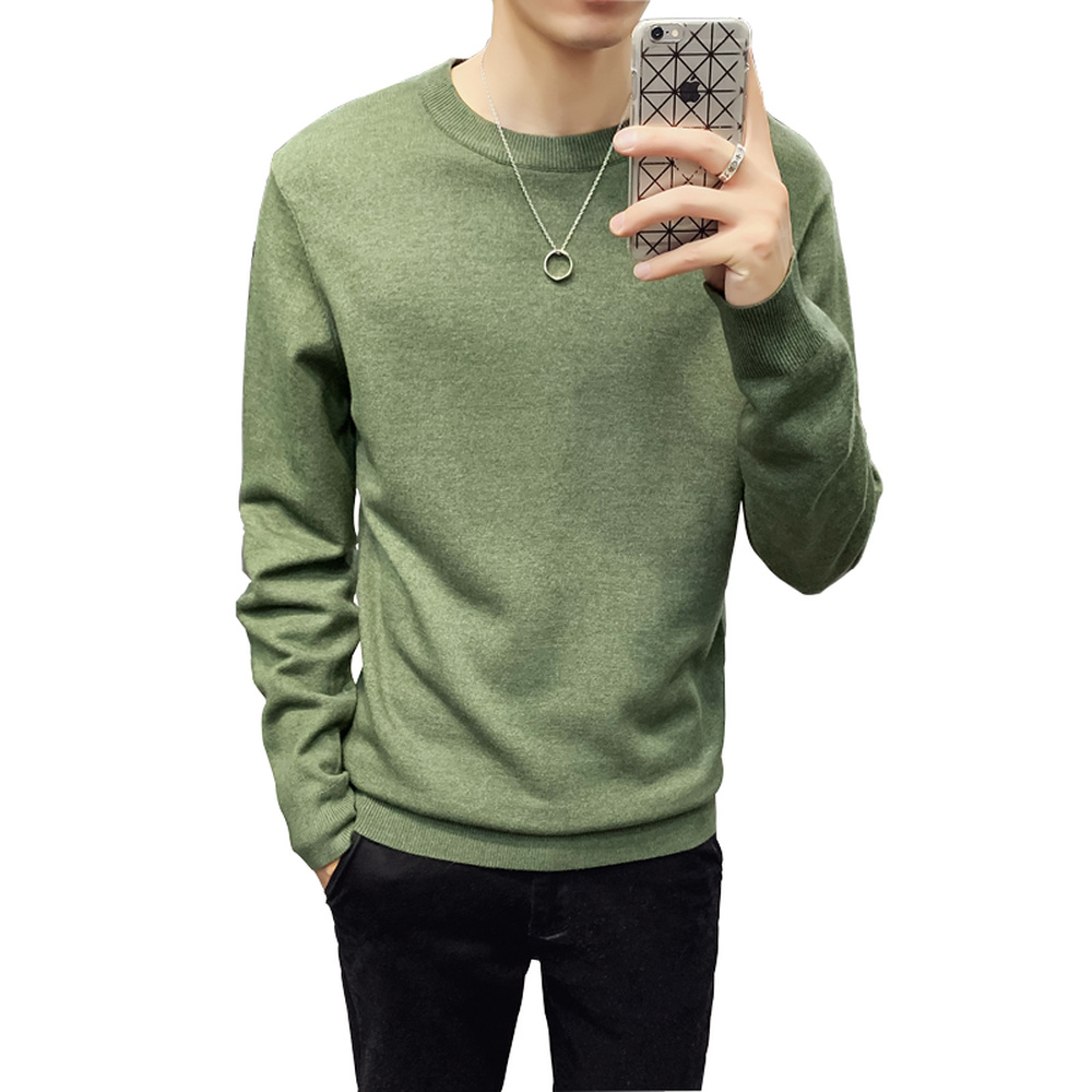 Men Solid Color Slim Fit  Casual Pullover Sweater Male Autumn Winter O-Neck Streetwear Jumper Knitted Warm Bottom Sweaters