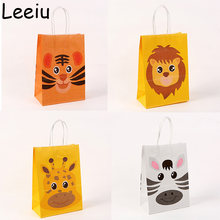 Leeiu 5pcs Animal Paper Gift Bags Jungle Safari Handbags Zoo Forest Party Candy Bag Baby Shower Birthday Decoration Kids Favors