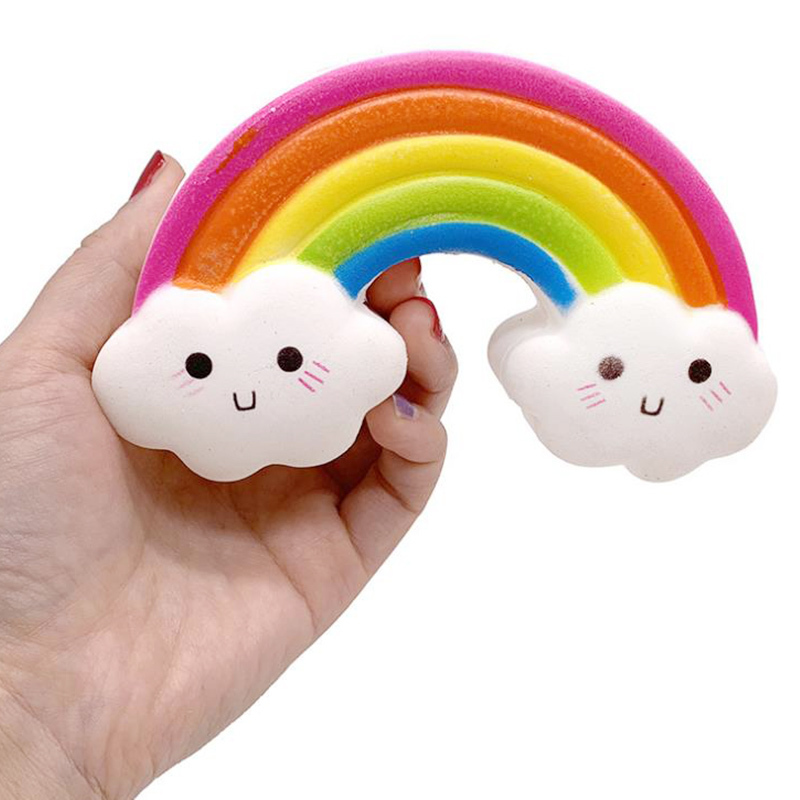 Cute Soft Rainbow Smiley Squishy Slow Rising Soft Scented Squeeze Toys For Children Funny Stress Relief Toys Kids Xmas Gifts