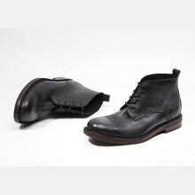 100 prawdziwe skórzane zabytkowe buty ochronne męskie buty do kostki ręcznie Brogue skrzydło wskazówka botki Retro okrągłe Toe sznurowane buty tanie tanio ajdsscl podstawowe PRAWDZIWA SKÓRA ANKLE Stałe Ze świńskiej skóry okrągły nosek RUBBER Na wiosnę jesień Niska (1 cm-3 cm)