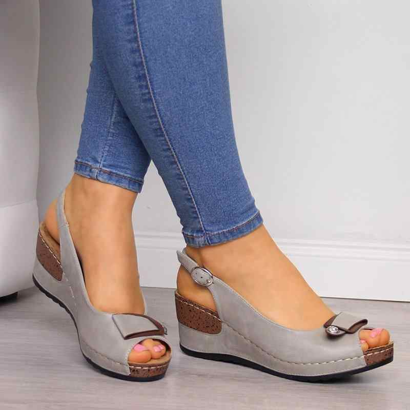 Sandalias de cuña para mujer, zapatos de verano, plataforma para mujer, zapatos de tacón medio clásicos de Roma, zapatos con hebilla, zapatos de fiesta con punta abierta para mujer