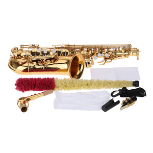 Image 4 - ammoon Eb Alto Saxophone Brass Lacquered Gold E Flat Sax 802 Key Type Woodwind Instrument with Cleaning Brush Cloth Gloves Strap