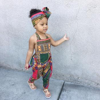 Girl Jumpsuits Sleeveless Dashiki African Style Summer Toddler Baby Girls Halter Backless Jumpsuit Clothes Outfits #2F