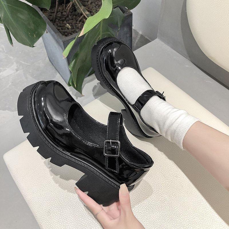 Platform Shoes High-Heel Japanese-Style Girls Vintage Big-Size Women Student Mary Jane