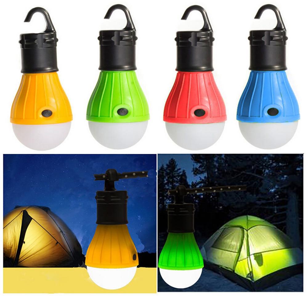 Outdoor Camping Equipment Lantern Tent Light Mini Portable LED Bulb Emergency Hiking Fishing Hanging Hook Flashlight 5 Color Set(China)