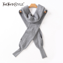 TWOTWINSTYLE Casual Knitted Scarf For Women Turtleneck Long Sleeve Solid Minimalist Knitting Tops Female Fashion New Clothing