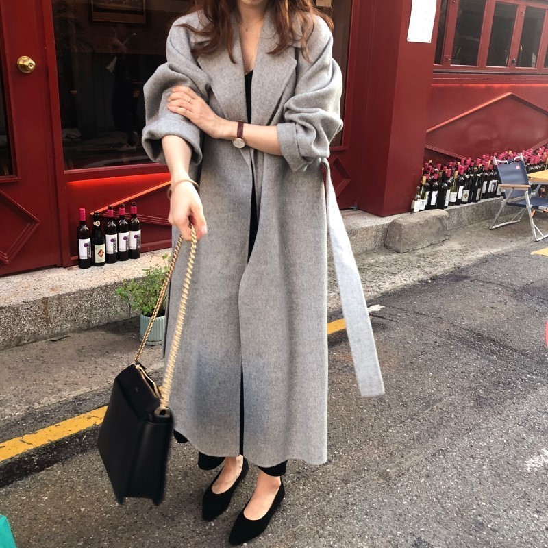 Ha6d19fb96ec642e08c8e3b8b91469ee99 Winter Fashion Coats Women Wool-blend Coat Lazy Oaf Long Chunky Warm Coat Western Style Fitted Waist Lace-up  Loose Coat