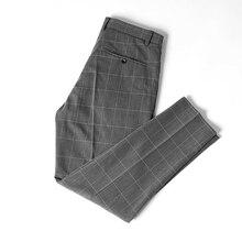 Плед брюки мужчины лето новинка мода корейский стиль костюм брюки мужские Slim Fit повседневный деловой брюки мужской дышащий брюки брюки