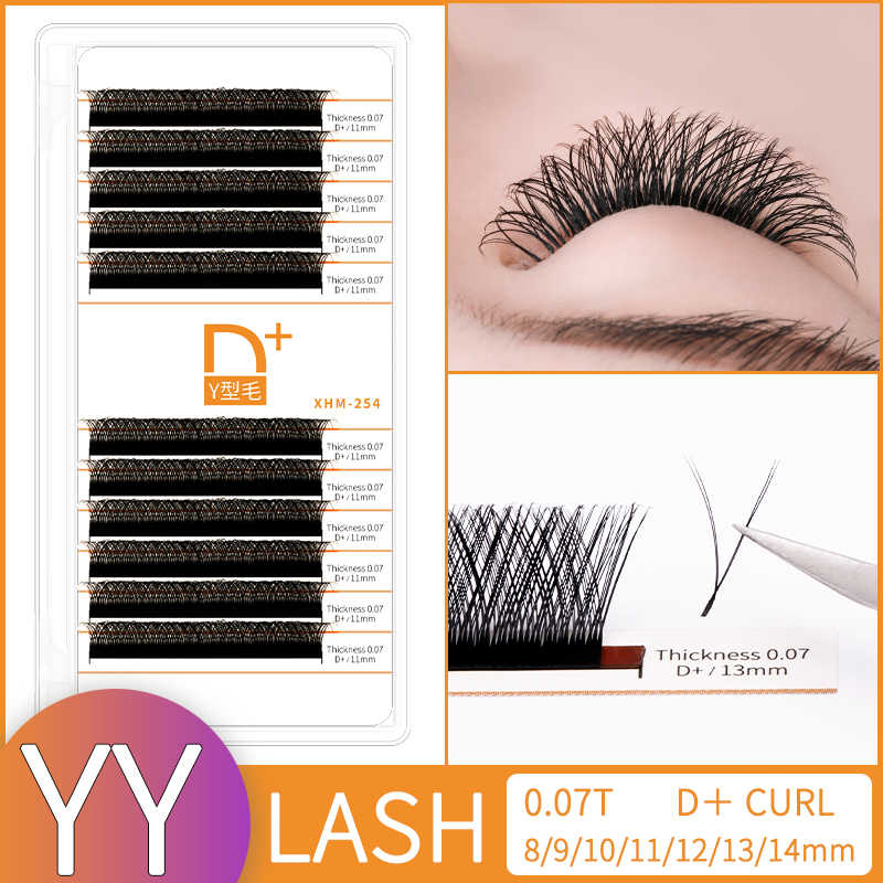 Y  shape eyelash extension dcurl double tip lash eyelash cilios Y natural easily grafting Y style volume eye lashes faux mink