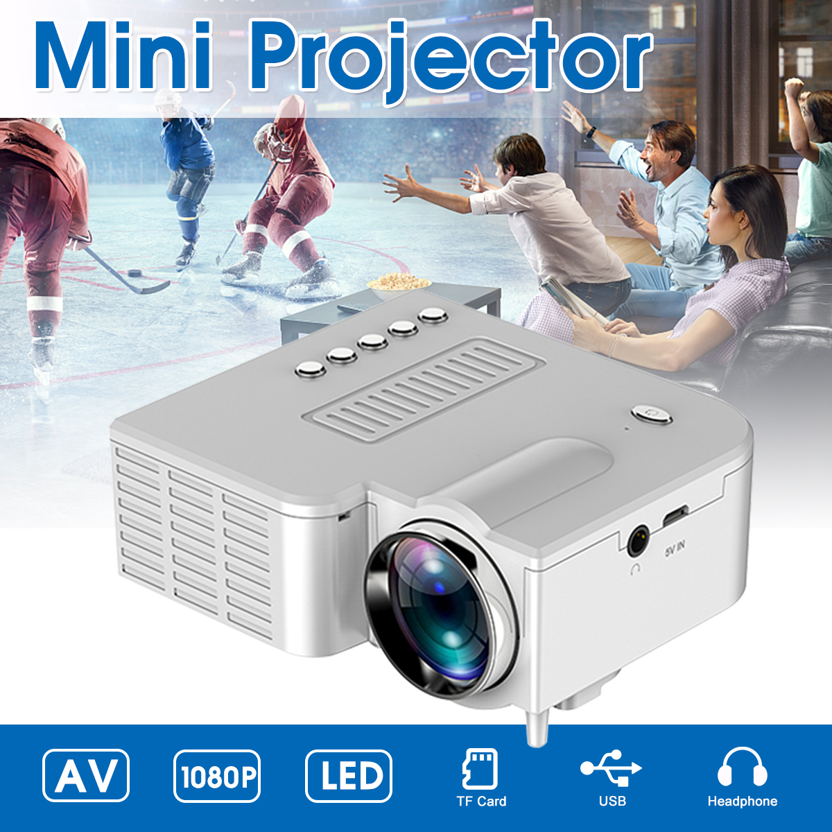 Portable LED Mini Projector Video Beamer for Home Cinema 500 Lumens Support HD Display 4k projector 4K led projector 1920x1080 image