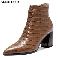 ALLBITEFO size 34 42 real genuine leather women boots pointed toe fashion casual high heel shoes boots women's ankle boots