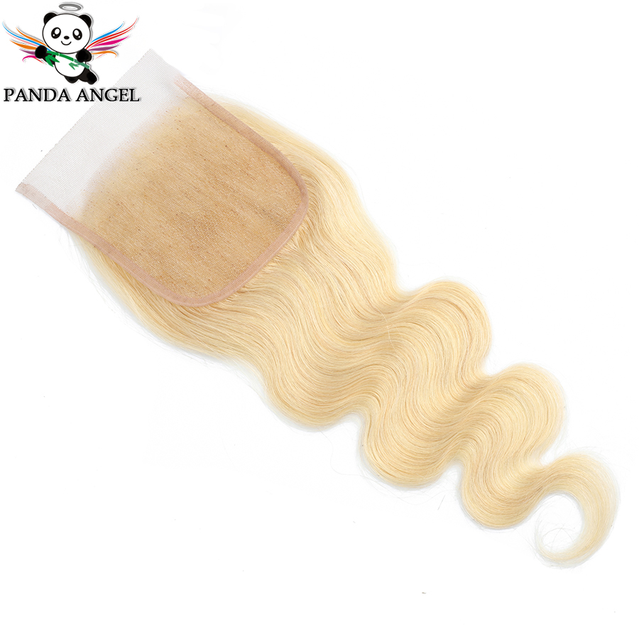 Panda Angel 613 Blonde Mongolian Body Wave 4*4 Lace Closure Middle/Free/Three Part Remy Human Hair Lace Closure For Black Women image
