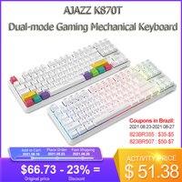 AJAZZ K870T Mechanische Tastatur 87 Schlüssel RGB Dual Modus Bluetooth-kompatibel Drahtlose Tastatur Scroll Rad Satelliten Schalter 2000mA