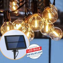 5Ft G40 bombilla globo guirnaldas de luces alimentadas por energía Solar con claro bulbo Patio luces Vintage bombillas decorativas al aire libre guirnalda boda