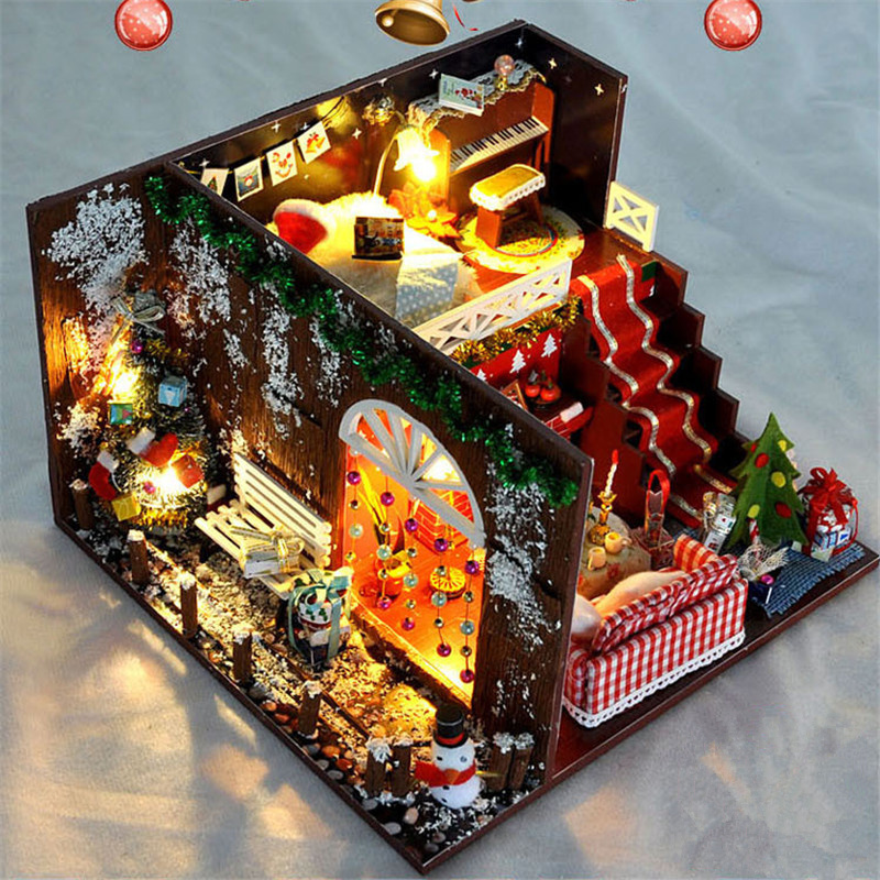 Diy Christmas Cottages Miniature House Christmas Decorations For Home Wood Lighting Diy Dollhouse Christmas Toys Gift Brinquedos