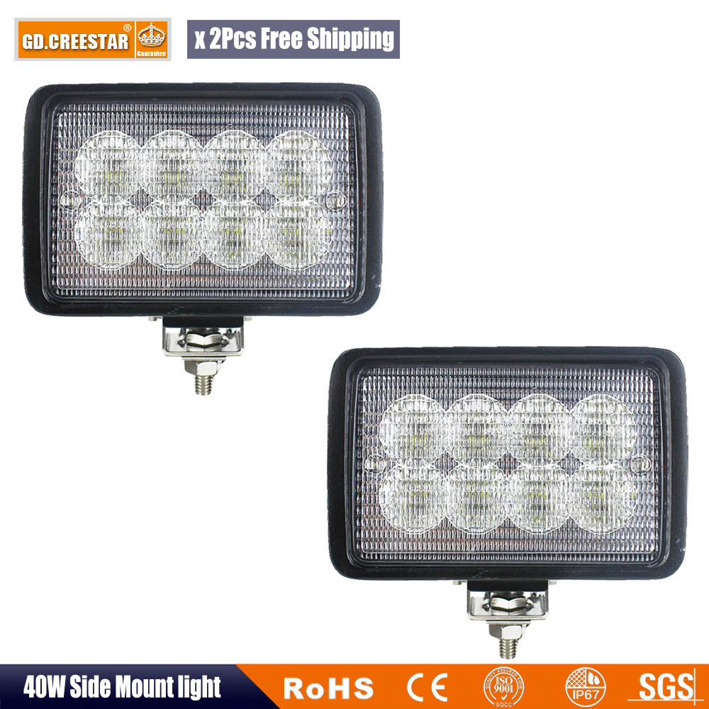 6x4 40W Led Tractor Lights with Bottom Brackets Replaces Case IH New Holland Left Hand or Right Hand Front or Rear Cab Light x2