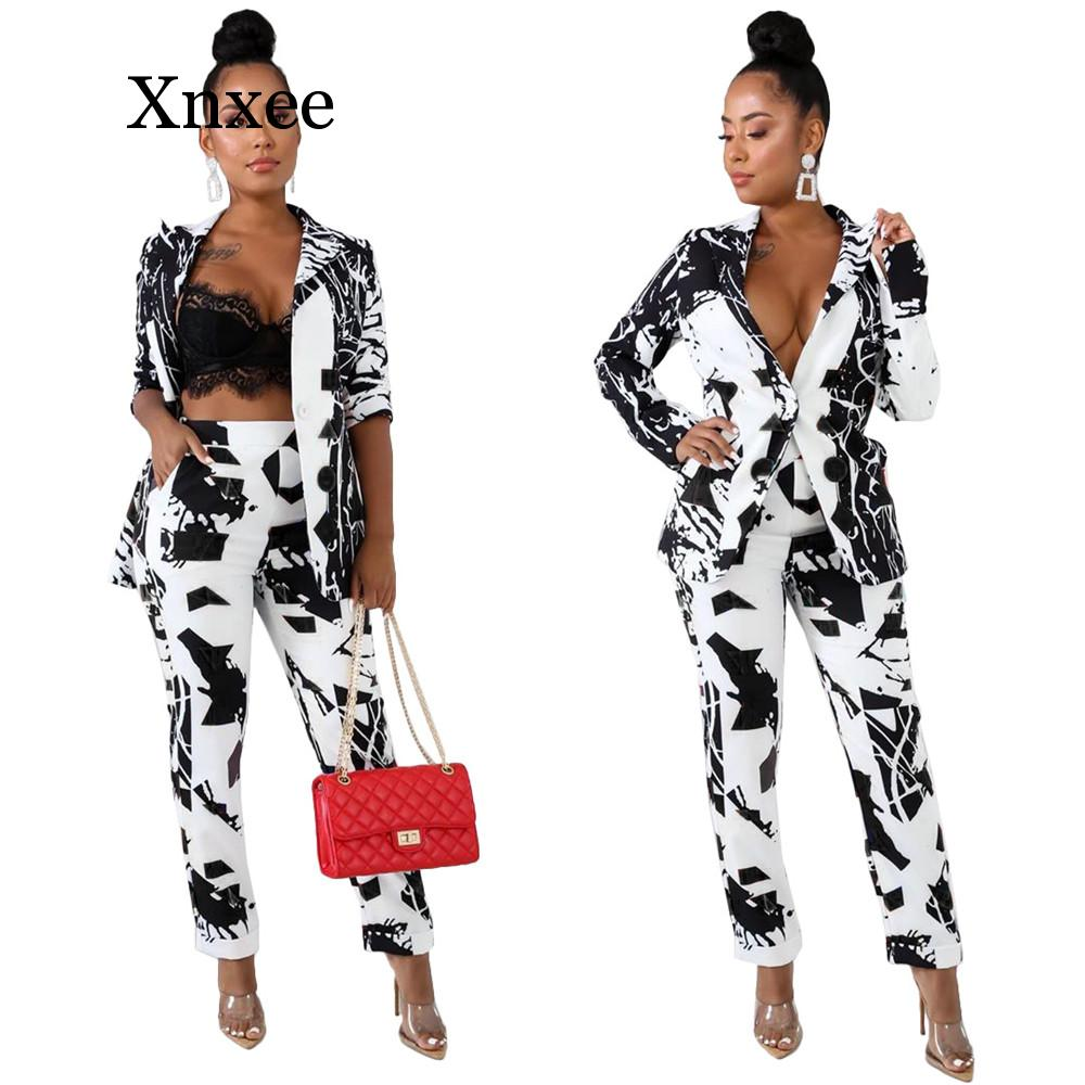 Office Lady Blazer 2 Piece Set Women Winter Workwear Full Sleeve Graffiti Blazers Pant Suits Elegant Trouser Suit Africa Style