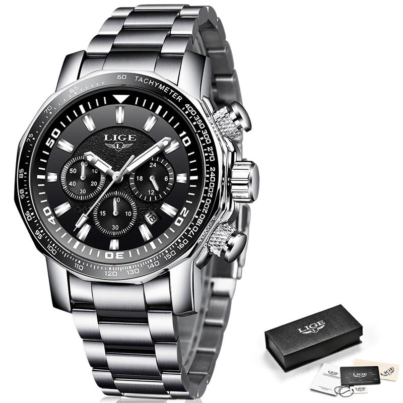 2020 LIGE Top Brand Luxury Mens Watches Full Steel Watch Male Military Sport Waterproof Watch Men Quartz Clock Relogio Masculino 6