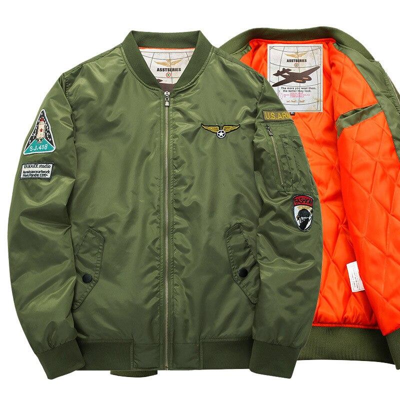 Men Bomber Jacket Brand Spring Autumn Clothing Air Force One Hip Hop The Rocket Icon Designs Slim Fit Pilot Men Zipper Coat