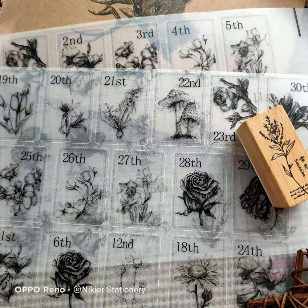 62~70 Sheets Vintage Stamp Plant Calendar Digital Flower Sticker In The Diary Planner TN Books Deco Tags Stickers Bullet Journal