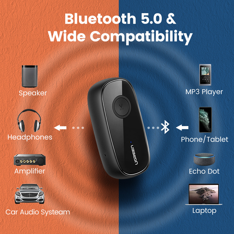 Ugreen Bluetooth Receiver 5.0 aptX LL 3.5mm AUX Jack Audio Wireless Adapter for Car PC Headphones Mic 3.5 Bluetooth 5.0 Receptor 4