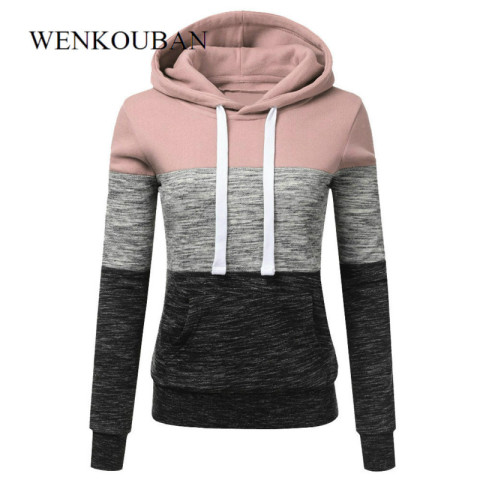 Hoodies Women Sweatshirts Fashion Womens Casual Hoodies Sweatshirt Patchwork Ladies Hooded Pullover Women Clothes Bluza Damska Karachi