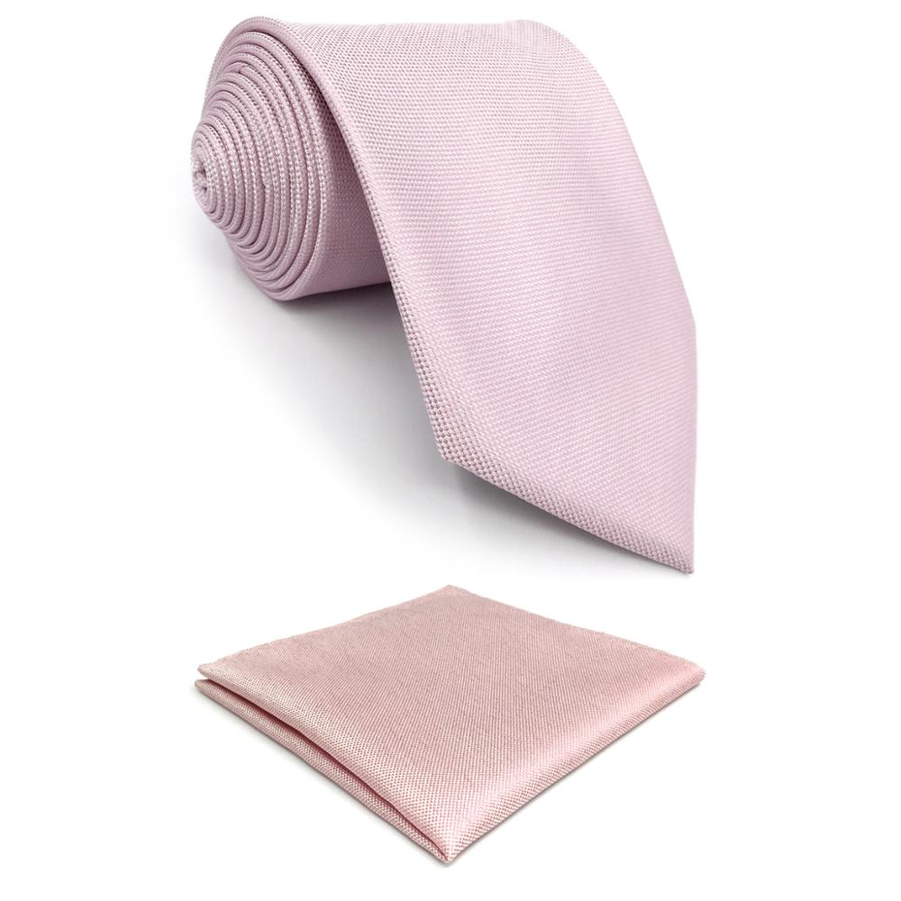 F8 Baby Pink Solid Men Necktie Set Silk Fashion Ties For Male Wedding XL Gift Hanky Classic
