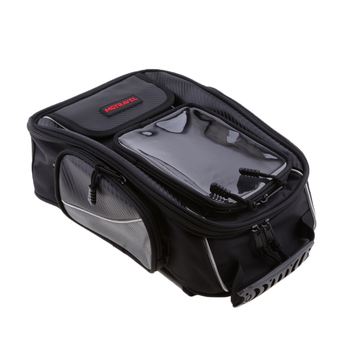 Motorcycle Oil Fuel Tank Bag Magnetic Motorbike Riding Tail Bag with Reflective Lines Black Waterproof for Universal