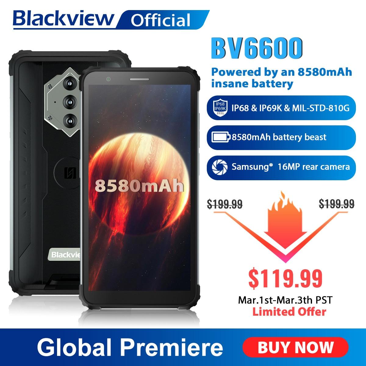 Blackview BV6600 IP68 Водонепроницаемый 8580 мА/ч, прочный смартфон, четыре ядра, 4 Гб + 64 Гб 5,7