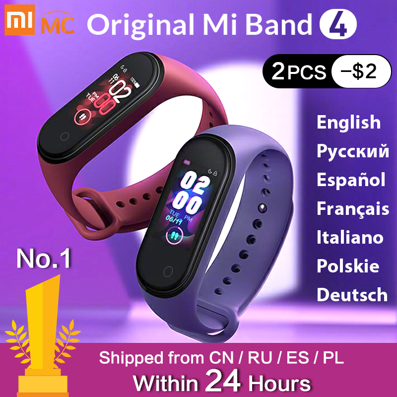 In Stock Original Xiaomi Mi Band 4 Smart Miband 3 Color Screen Bracelet Heart Rate Fitness Tracker Bluetooth5.0 Waterproof Band4 image