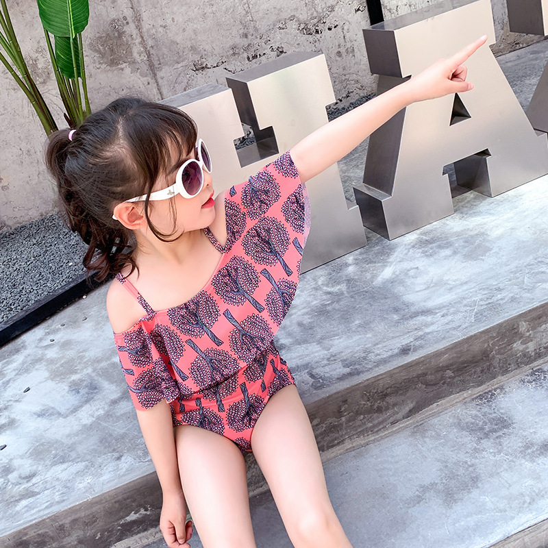 19 New Bathing Suit Children Big Boy South Korea One-piece Princess Dress Triangle Girls GIRL'S Baby Comfortable Tour Bathing Su