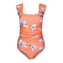 Maternity Swimwear Summer Floral Pattern Women Flower Print Bikinis Pregnancy Swimsuit Plus Size Beachwear For Pregnant Wear plus size short sleeve floral pattern swimwear for women
