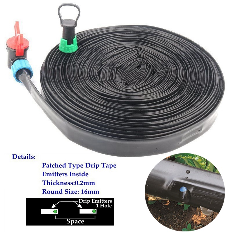 5~50m Drip Irrigation System Rain Drip Tape Farm Greenhouse Home Garden Plants Trickle Irrigation Drip Hose Emitter Inside