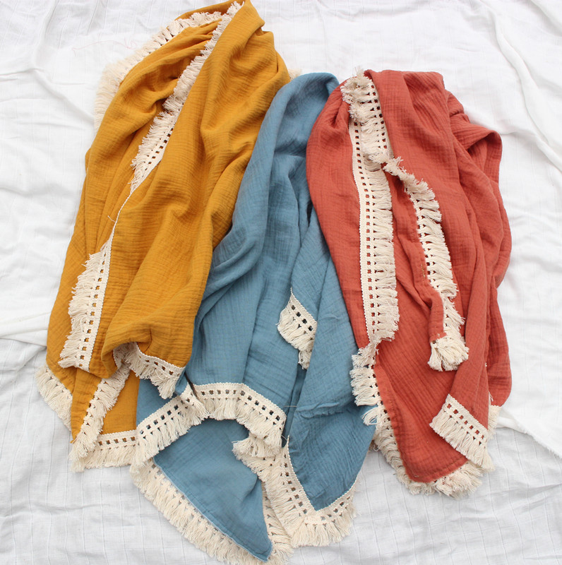 Muslin Baby Blankets Newborn Swaddle Wrap Blanket Tassel Cotton Baby Receiving Blanket Infant Sleeping Quilt Bed Cover