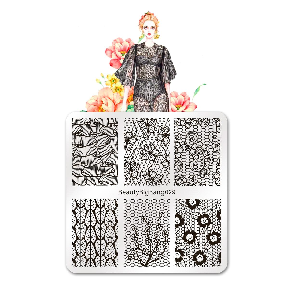 beautybigbang prego stamping placas beleza laco borboleta deixa imagem 6cm vintage de aco inoxidavel modelo de