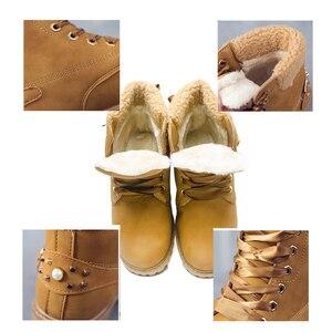 Image 5 - Fujin femmes bottes dhiver plate forme rose femmes bottes lacer décontracté bottines bottines rondes femmes chaussures hiver neige bottes cheville