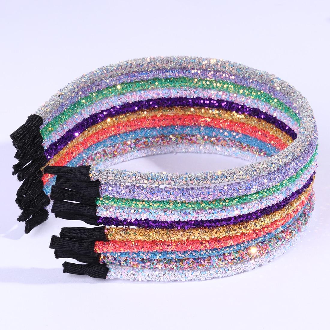 1 PC New Fashion Girls Glitter Hairband Shiny Sequins Children Party Hairbands Kids Headhoop Women Birthday Hair Accessories