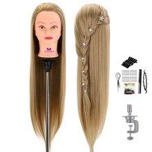 Tête de poupée pour coiffeurs 75 Cm cheveux synthétique Mannequin tête coiffures femme Mannequin coiffure coiffure formation tête