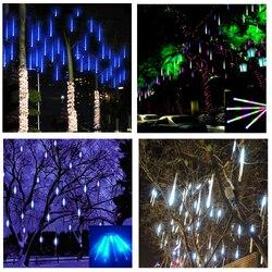 Wodoodporna 8 tuba 50cm Holiday Meteor prysznic deszcz girlanda żarówkowa led światła do użytku wewnątrz pomieszczeń ogrody zewnętrzne Xmas Christimas Party Decor Tree w Girlandy świetlne od Lampy i oświetlenie na