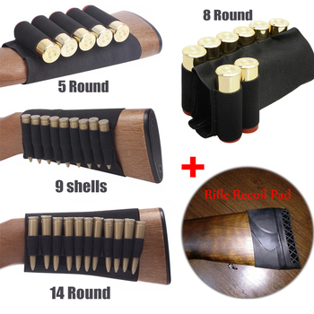 tactical buttstock shotgun rifle stock ammo portable pouch shell cartridge holder pouch holder cheek leather pad Tactical Buttstock Outdoor Hunting Ammo Pouch Rifle Recoil Pad Military Airsoft Shell Holder Gun Accessories Cartridges