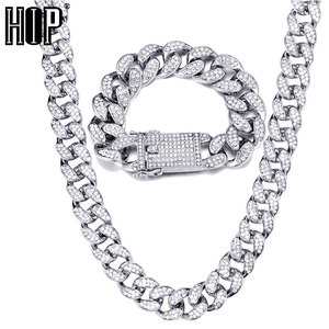 Hip Hop 1Set 20MM Full Heavy Iced Out Paved Rhinestone Miami Curb Cuban Chain CZ Bling Rapper Bracelet Necklaces For Men Jewelry(China)