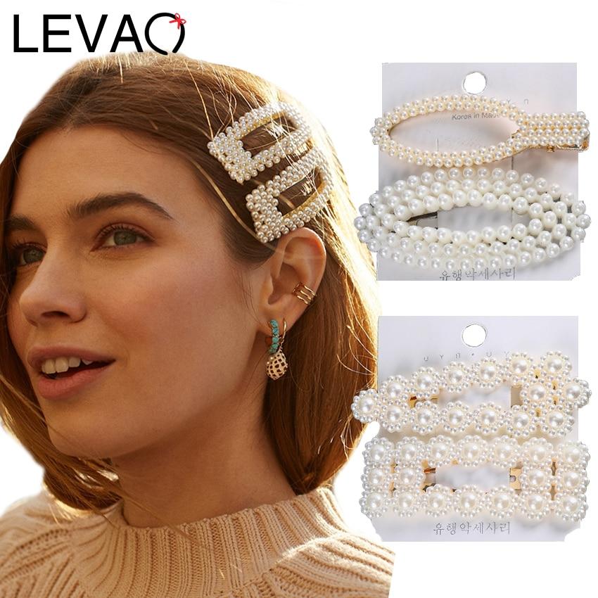 Levao 2PCS/Set Women Girls Elegant Pearls Hair Clips Sweet Headwear Hair Ornament Hairpins Barrettes Headband Hair Accessories