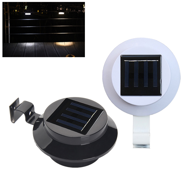 Solar Powered Wall Mount 3-LED Light Black White Waterproof Outdoor Garden Path Way Fence Yard Lamp With Mounting Clip