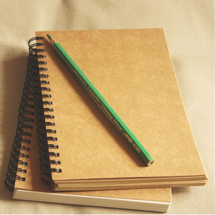 Vintage Kraft Paper Coil Sketchbook Bullet Journal Cute Notebook Paper Weekly Planner Accessories Stationery Diary Agenda 01604