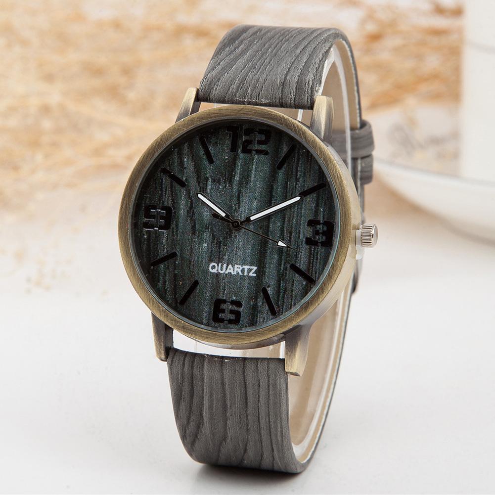 Unisex Wood Grain Round Dial Faux Leather Strap Arabic Numerals Quartz Watch